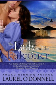 Romance novel ebook cover for The Lady and the Falconer by Laurel O'Donnell