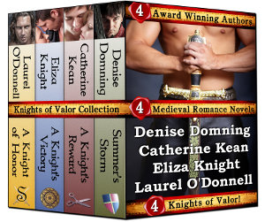 Knights of Valor medieval romance novel box collection, featuring medieval romance novels by Denise Domning, Catherine Kean, Eliza Knight and Laurel O'Donnell.